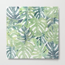 Tropical Leaves Monstera leaves Jungle leaves Metal Print