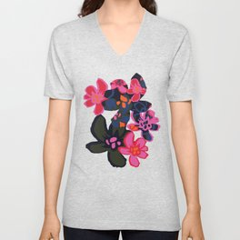 Camelia Woodcut - Winter Unisex V-Neck