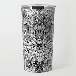 Summer Foliage, Black and White Travel Mug