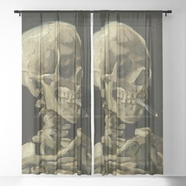 SKULL OF A SKELETON WITH BURNING CIGARETTE - VINCENT VAN GOGH Sheer Curtain