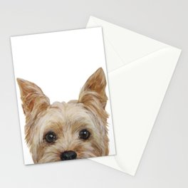 Yorkshire 2 Dog illustration original painting print Stationery Cards