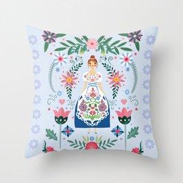 Fairy Tale Folk Art Garden Throw Pillow