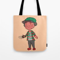 freddy krueger Tote Bags featuring Horror Hipsters - Freddy Krueger by Duddy In Motion