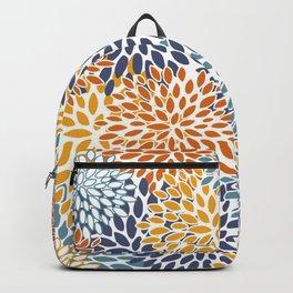 Floral Blooms, Blue, Teal, Orange, Yellow Backpack
