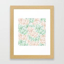 Pastel green coral hand painted watercolor elegant floral Framed Art Print