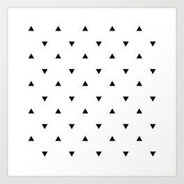 Black and white Triangles geometric pattern Art Print
