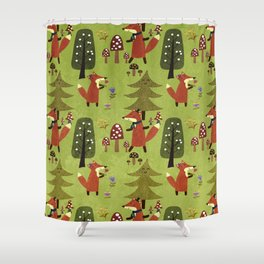 Happy foxes in the forest - Cute Fox Pattern Shower Curtain