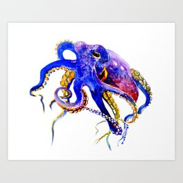 Octopus, Blue, Gold,Purple Art Print