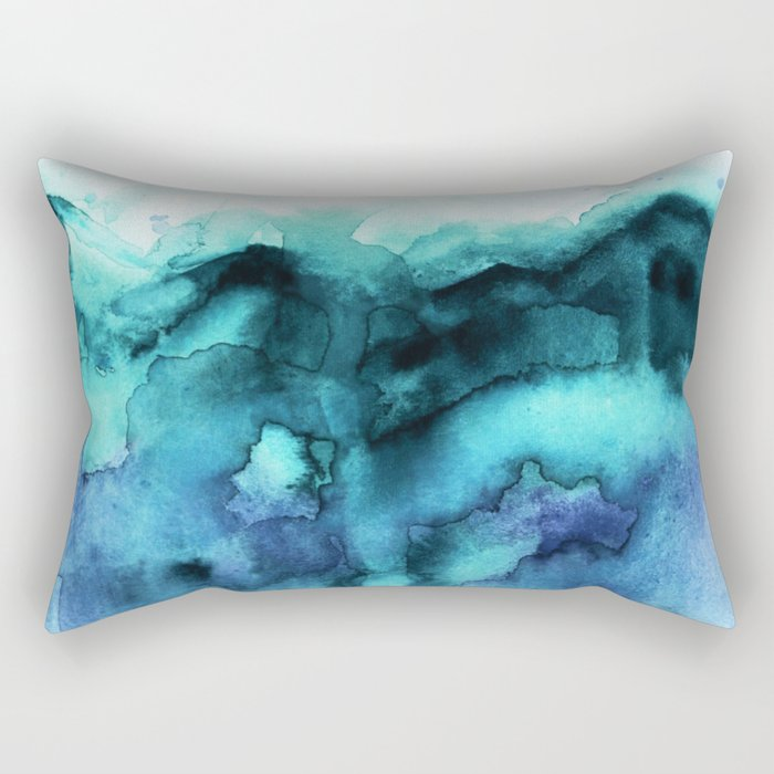 Abstract teal purple watercolor Rectangular Pillow
