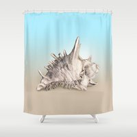 shell Shower Curtains featuring Shell by RasaOm