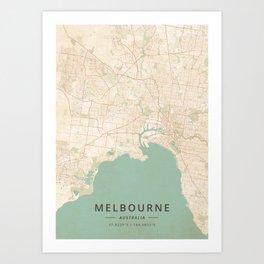 Melbourne, Australia - Vintage Map Art Print