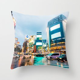 Shibuya Crossing in the Rain Throw Pillow