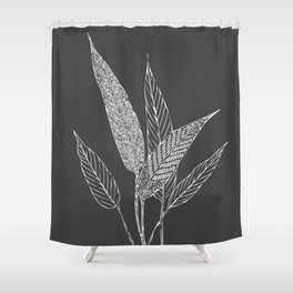 Black and White Botanical Drawing Shower Curtain