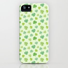 Happy St. Patrick's Day Shamrock Pattern on light green iPhone Case