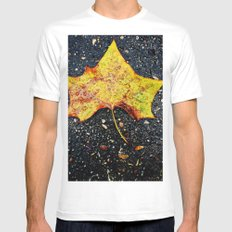 Autumn Leaf MEDIUM White Mens Fitted Tee