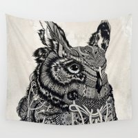 owl Wall Tapestries featuring Owl by Feline Zegers