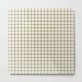 Fern Green & Sludge Grey Tattersall on Cream Background Metal Print