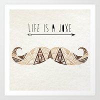 moustache Art Prints featuring moustache by Manoou