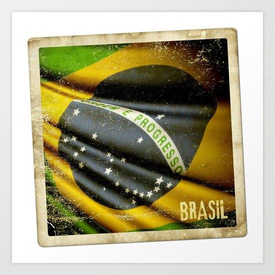 Sticker of Brazil flag Art Print
