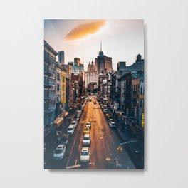 NewYork City Street and Skyline Metal Print