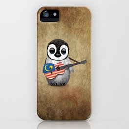Baby Penguin Playing Malaysian Flag Acoustic Guitar iPhone Case