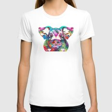Colorful Pig Art - Squeal Appeal - By Sharon Cummings Womens Fitted Tee White MEDIUM