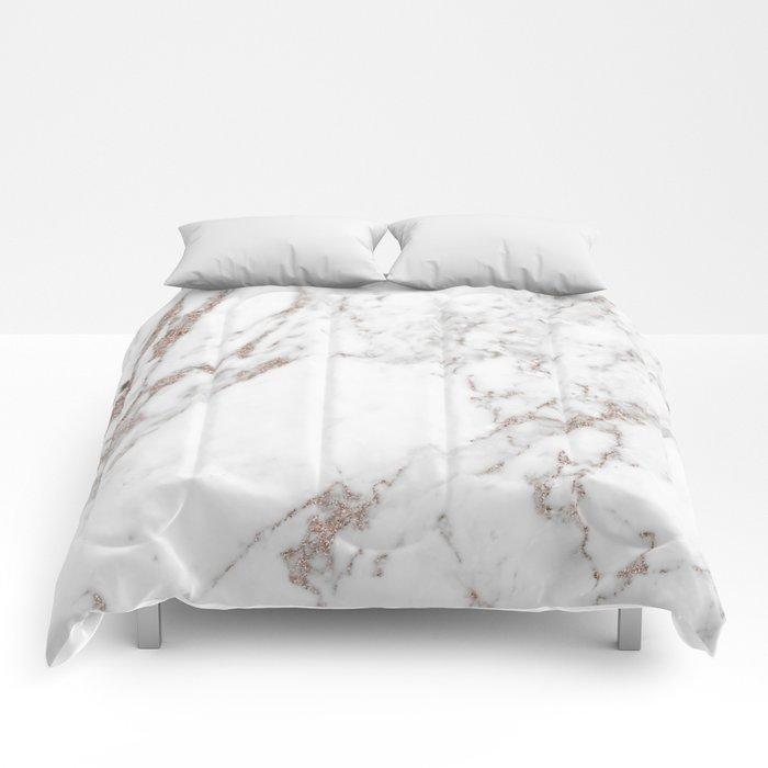 Rose gold shimmer vein marble Comforters