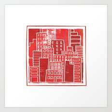 Square Houses in Red Art Print