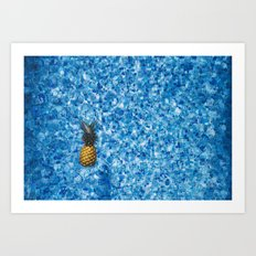 Pineapple in Pool Art Print
