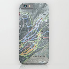 Sunday River Resort Trail Map iPhone Case