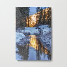 Endless Possibilities sunrise on the snow covered creek Metal Print