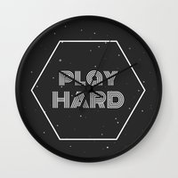 die hard Wall Clocks featuring Play Hard by eARTh