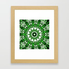 Green White Black Explosion Framed Art Print