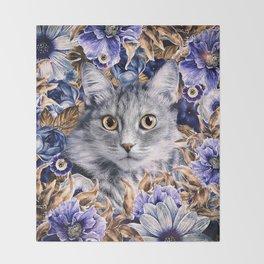 Cat in Flowers. Autumn Throw Blanket
