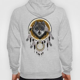 Indian Native Gray Wolf Dreamcatchers Hoody