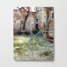 Broken window to Venice courtyard Metal Print