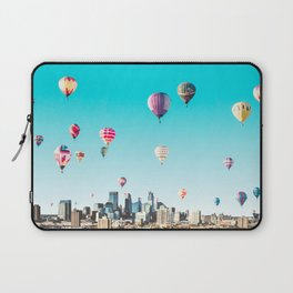 Minneapolis, Minnesota Skyline with Hot Air Balloons Over the City Skyline Laptop Sleeve