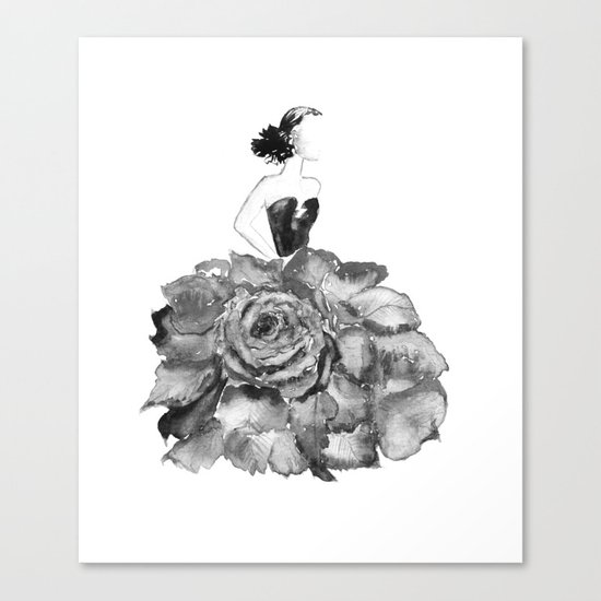 Lady Rose, black and white Canvas Print