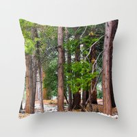 forrest Throw Pillows featuring Forrest by Savannah Ault