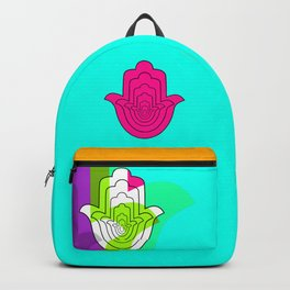 Blue Pop Art and Pink Hamsa Hand Backpack
