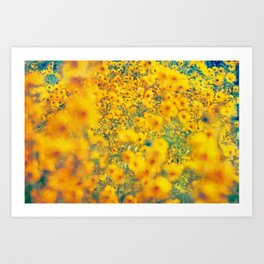 Painterly Yellow Sunflower Botanical with Abstract Elements Art Print