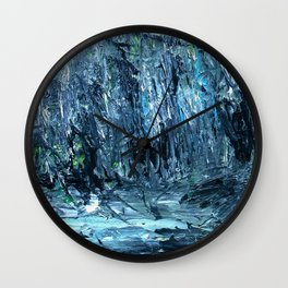 A Clearing Through The Swamp Acrylics On Stretched Canvas  Wall Clock