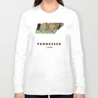 tennessee Long Sleeve T-shirts featuring Tennessee state map modern by bri.buckley