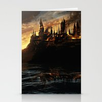 dumbledore Stationery Cards featuring Harry Potter - Hogwart's Burning by Juniper Vinetree