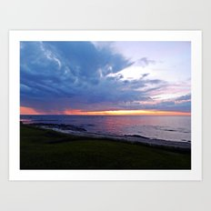 Sunset at Sea and the Rain Storm Art Print