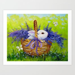 Rabbit in lavender Art Print
