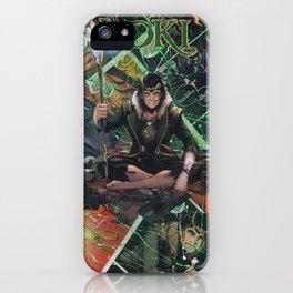 Loki God of Mischief Comic Art Collage iPhone Case