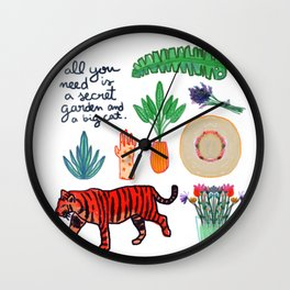 all you need is a secret garden and a big cat Wall Clock