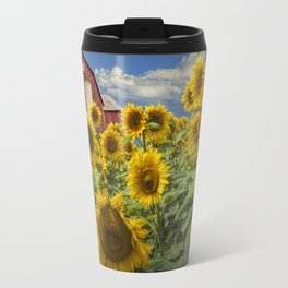 Golden Blooming Sunflowers with Red Barn Travel Mug