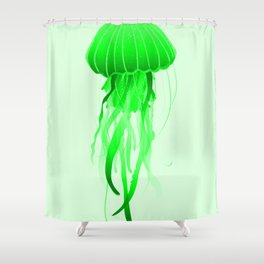 Green Jellyfish Ocean Pretty Sea Life Marine Design Shower Curtain